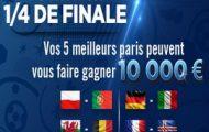 Pariez sur les 1/4 de finale de l'Euro 2016 avec Winamax : 10.000€ à partager entre les 50 meilleurs parieurs