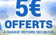 Pariez sur France Pari sur les matchs de la France à l'Euro 2016 et remportez 5€ à chaque victoire des Bleus