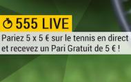 """Pendant Wimbledon, participez à l'offre """"555 Live"""" sur Bwin.fr et remportez 5 euros chaque jour"""
