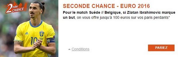 Seconde Chance Suède-Belgique Euro 2016 avec PMU