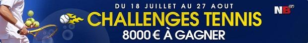 De 20 à 500€ à gagner chaque semaine sur Netbet en juillet et en août avec le challenge tennis