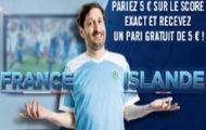 Pariez sur le score du match France/Islande en 1/4 de l'Euro 2016 avec winamax et recevez 5 euros