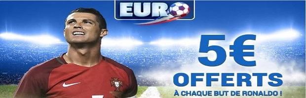 Jusqu'à 10€ offerts avec France Pari si Ronaldo marque lors de Pays de Galles