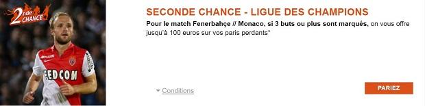 Seconde Chance Fenerbahçe/Monaco en qualification pour la LDC avec PMU