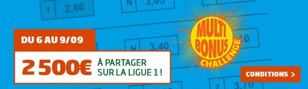 Bonus de 2.500 euros à partager pour la 4ème journée Ligue 1 sur PMU
