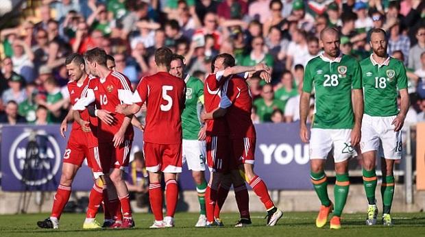 La Biélorussie célèbre sa victoire face à l'Irlande