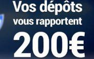 France Pari vous offre jusqu'à 200€ supplémentaires sur les dépôts d'argent effectués du 1er au 10 octobre
