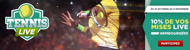 Jusqu'à 100€ à gagner sur vos paris live pour l'Open de Bercy 2016 avec Betclic