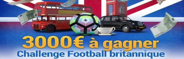 3.000€ mis en jeu pour le Challenge Foot Britannique sur France Pari