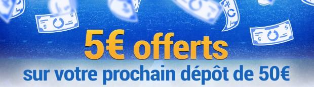 5€ offerts sur un dépôt de 50€ sur France Pari en décembre