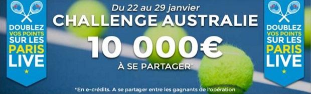 Challenge Australie sur Parions Sport entre le 22/01 et le 29/01