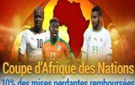 France Pari rembourse 10% de vos mises perdantes sur les matchs de la Coupe d'Afrique des Nations 2017