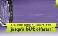 Misez en combiné sur le tennis avec France Pari du 1er au 6/01 : Jusqu'à 50€ offerts si vous faites 1 seule erreur