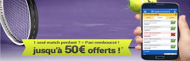 Jusqu'à 50€ de cashback sur vos combinés tennis du 1er au 6/01 sur France Pari