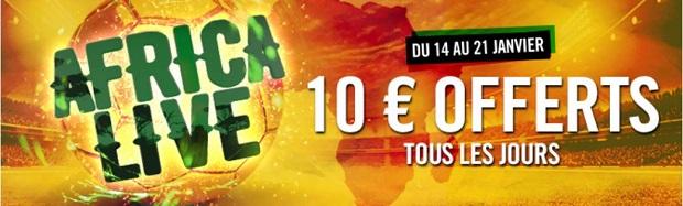Promo Africa Live avec Winamax entre le 14 et le 21 janvier