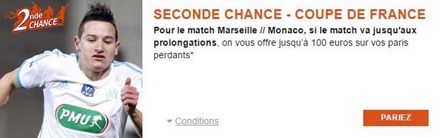 100 euros remboursés sur PMU.fr sur Marseiile/Monaco