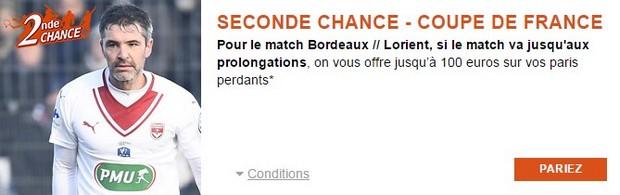 Pariez en seconde chance sur Bordeaux Lorient avec PMU