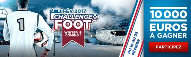 Gagnez de 10€ à 2.000€ grâce à Betclic en participant au challenge foot de février 2017