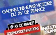 Pariez sur le Tournoi des 6 Nations de rugby 2017 avec JOA et empochez 10€ à chaque victoire de la France