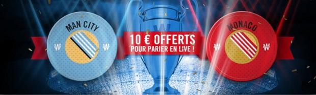 Pari live de 10€ à gagner sur Manchester City/Monaco en LdC avec Winamax