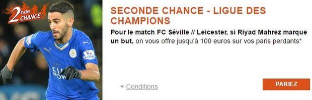 Seconde Chance PMU sur FC Séville-Leceister le 22 février
