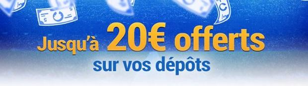 Empochez de 5€ à 20€ en mars lorsque vous créditez votre compte joueur France Pari