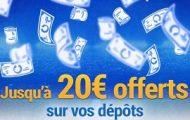 Faites un dépôt sur votre compte France Pari du 28/02 au 5/03 et gagnez entre 5€ et 20€ supplémentaires