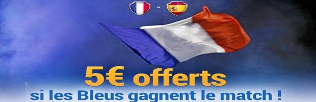 5€ offerts par France Pari pour le match amical France-Espagne