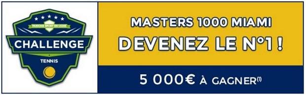 Empochez entre 100€ et 1 000€ en misant sur le Masters de tennis de Miami entre le 23/03 et le 3/04