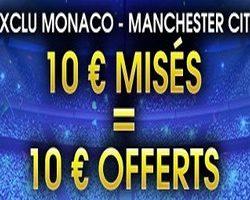 NetBet offre 10€ pour miser en Live sur Monaco-Manchester City