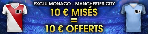 10€ offerts par NetBet pour miser sur Monaco-Manchester City en LDC