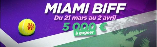 Entre 10€ et 1 000€ de bonus à gagner lors de l'Open de Miami de tennis sur Winamax