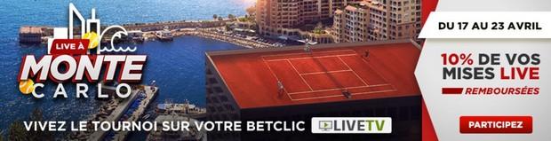 Pariez en Live sur le tournoi de Monte-Carlo avec Betclic