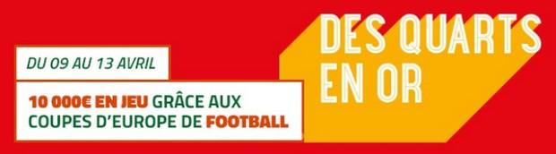 Pariez sur les 1/4 de finale aller de coupes d'Europe avec PMU.fr