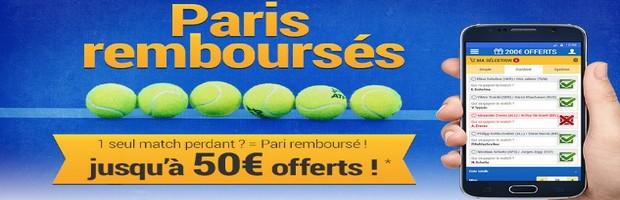 Jusqu'à 50€ offerts sur vos combiné tennis avec France Pari