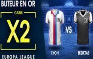 Lyon-Besiktas en Ligue Europa avec NetBet.fr : Jusqu'à 50€ offerts si vous trouvez un buteur de la rencontre