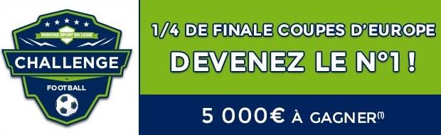 5.000€ mis en jeu par ParionsSport pour les 1/4 de finale des Coupes d'Europe
