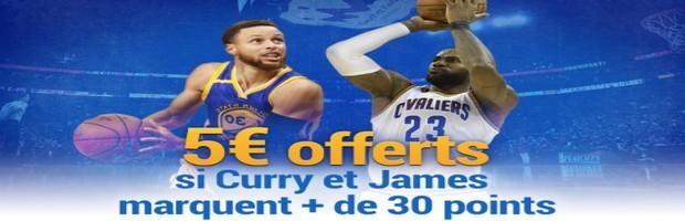 Jusqu'à 30€ offerts par France Pari sur la finale NBA 2017