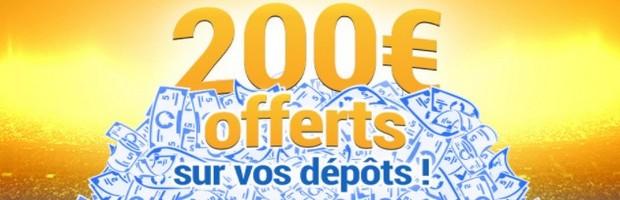 Jusqu'à 200€ offerts pour un dépôt d'argent sur France Pari
