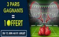 Misez sur le tennis avec NetBet.fr du 12 juin au 1er juillet 2017 : 5€ offerts tous les 3 paris remportés