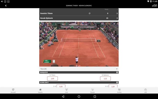 appli sport winamax sur Android