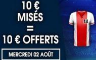 Misez sur la rencontre Ajax/Nice en LDC le 2 août sur NetBet.fr : jusqu'à 10€ de bonus offerts