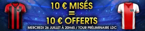 10€ offerts par NetBet pour Nice-Amsterdam en Ligue des Champions