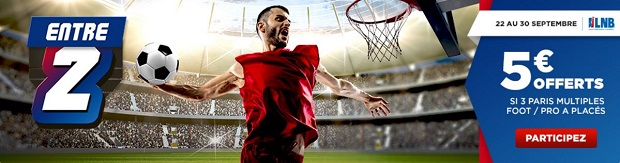 Bonus de 5€ offert en misant en combiné foot/basket avec Betclic