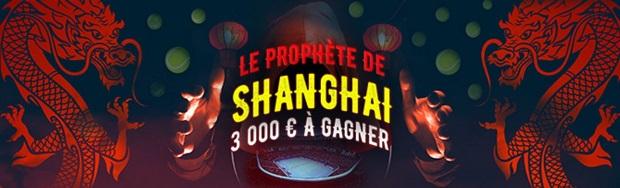 Remportez jusqu'à 500 euros avec Winamax grâce à la promo Prophète de Shanghai du 8 au 15 octobre 2017