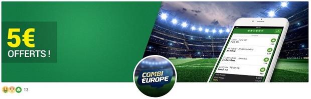 Combi Europe Unibet pour la 5ème journée de la ligue des Champions des 22 et 23/11