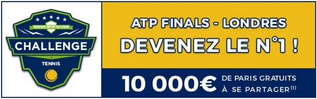 Cagnotte de 10.000€ à partager sur ParionsSport lors des ATP Finales de Londres