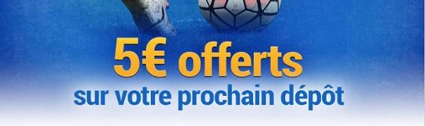 Remportez 5€ de dépôt supplémentaire en pariant sur le football avec France Pari du 6 au 8 février 2018