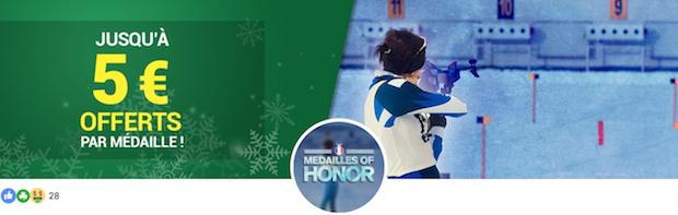 Obtenez entre 2€ et 5€ gratuits sur Unibet à chaque médaille remportée par la France aux Jeux d'Hiver 2018