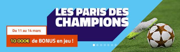 Dotation de 10.000 euros à partager lors des 1/8èmes de finale retour de la Champions League sur PMU